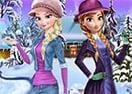 Vista Elsa e Anna para o Inverno Frozen