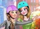 Jogar Elsa And Anna Roller Skating Gratis Online